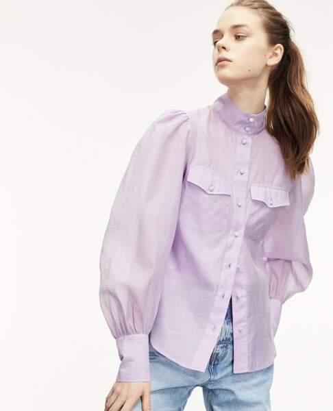 Chemise violette classique col montant, 90€, The Kooples