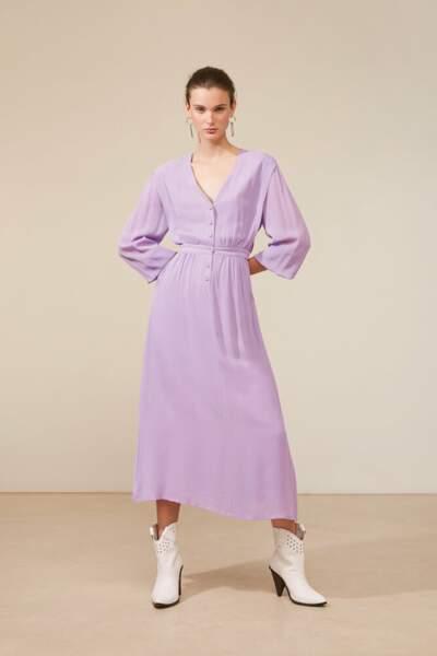 Robe Cybille longue boutonnée détails plis, 70€, Suncoo Paris