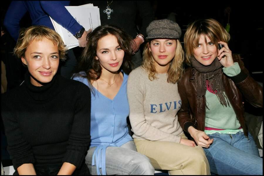 Alice Taglioni modeuse en 2005 avec Claire Keim, Marion Cotillard et Hélène de Fougerolles lors du défilé Celine.