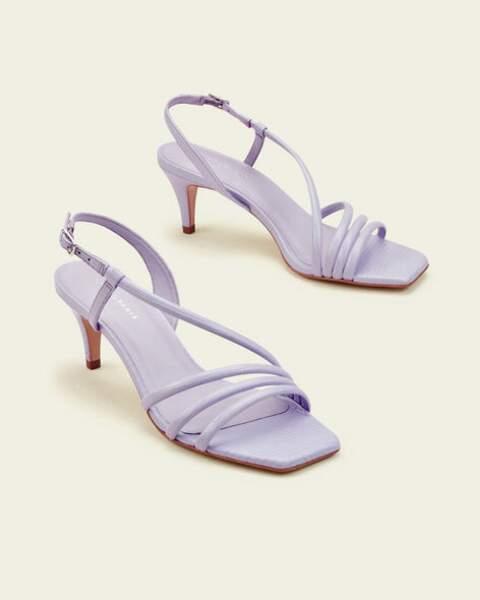 Sandales à talon zhora à brides en cuir python lilas, 98€, Cosmo Paris