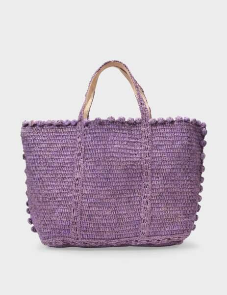 Sac cabas moyen en rafia violet parme, 161€, Vanessa Bruno