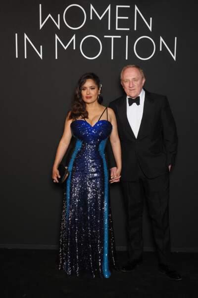 Salma Hayek et son mari François-Henri Pinault à Cannes, le 11 juillet 2021.