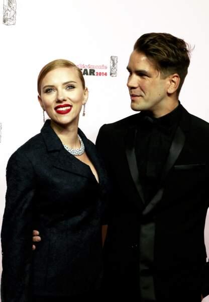 Scarlett Johansson et Romain Dauriac, à la cérémonie des César en 2014