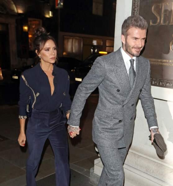 David et Victoria Beckham à Londres le 7 janvier 2019.
