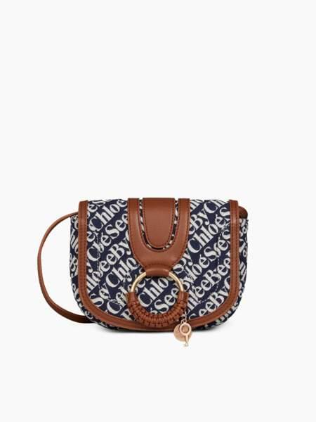 Mini sac Hana en jacquard et cuir de vachette grainé, 265€, See By Chloé