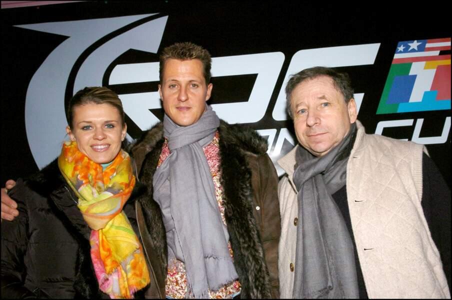 Jean Todt avec Michael et Corinna Schumacher en 2000