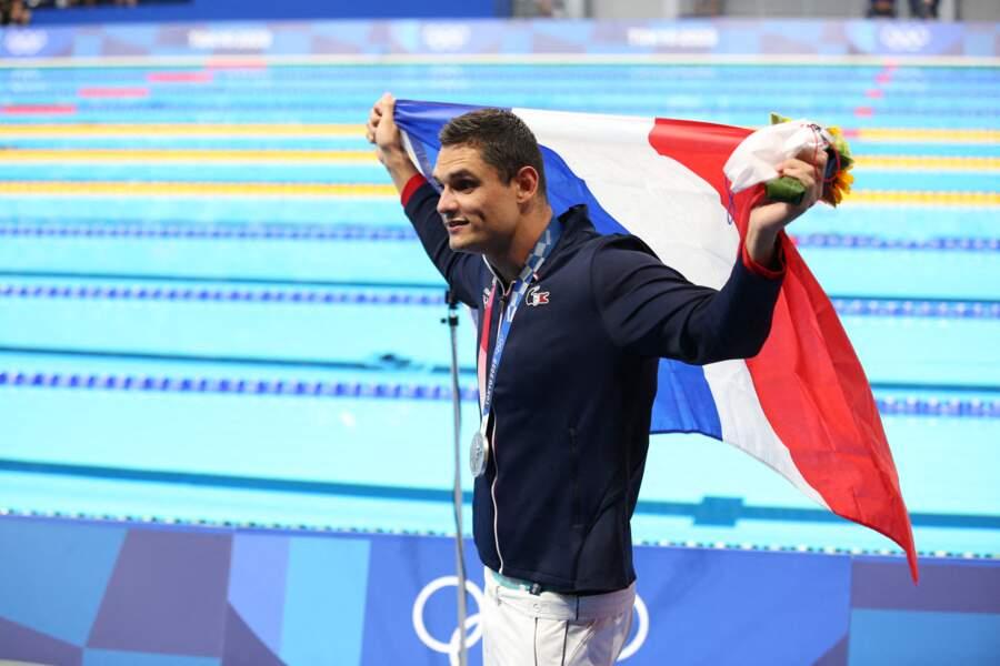 La Danoise Pernille Blume, qui partage la vie du nageur français depuis un an et demi, a remporté la médaille de bronze dans la même discipline.