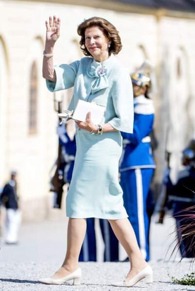 La reine Silvia, juste avant la cérémonie.