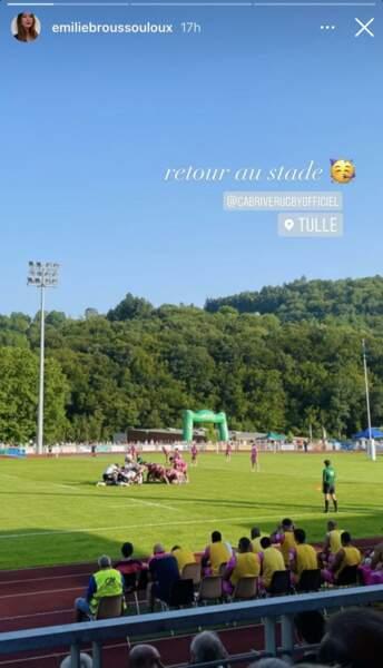 Sur Instagram, Émilie Broussouloux a partagé des images du match depuis les gradins et du soleil qui surplombait la Corrèze.