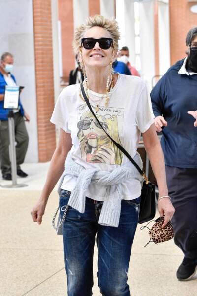 Sharon Stone à son arrivée à Venise pour l'événement Dolce & Gabbana, le 28 août