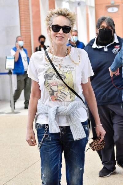 Sharon Stone à son arrivée à Venise pour l'événement Dolce & Gabbana en mode rock