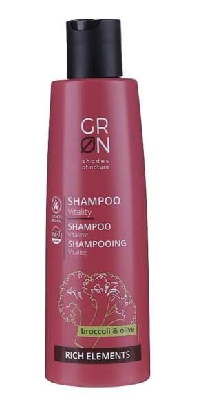 Shampooing aux huiles de brocoli et olive, GRN, 9,58€, makeup.fr