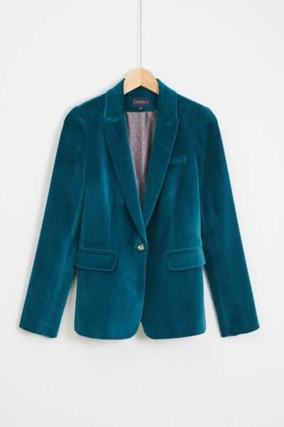Veste blazer en velours lisse, Caroll, 170€
