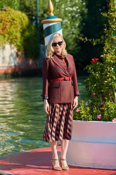 Kirsten Dunst arrive au Lido pour le 78ème festival international du film de Venise, la Mostra le 1er septembre 2021.