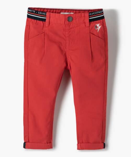Pantalon rouge 100% coton, 15,99€