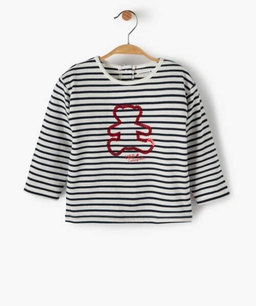 T-shirt marinière et nounours strassé, 9,99€