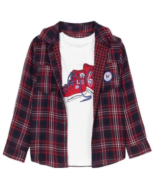 Tee-shirt et surchemise tartan en coton, 24,99€