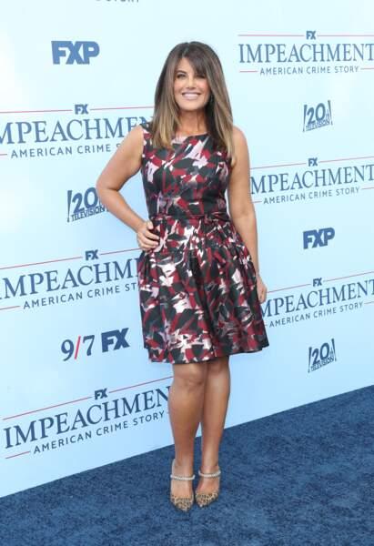 """Monica Lewinsky sous le feu des projecteurs pour présenter la série """"Impeachement"""" co-produit aux côtés de Ryan Murphy, à Los Angeles, le 1er septembre 2021."""