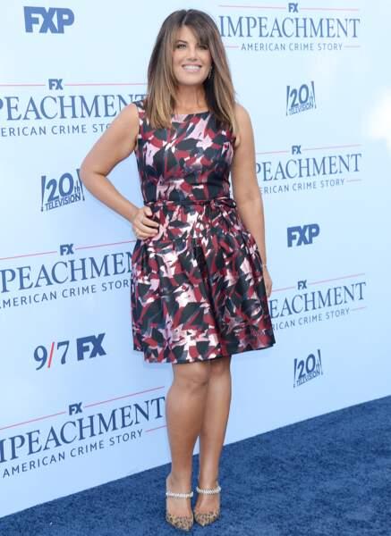 """Monica Lewinsky a retenu toute l'attention dans une mini-robe coloré lors de la première de """"Impeachment"""", saison 3 de la série American Crime Story à propos de l'affaire Monica Lewinsky, à Los Angeles, le 1er septembre 2021."""