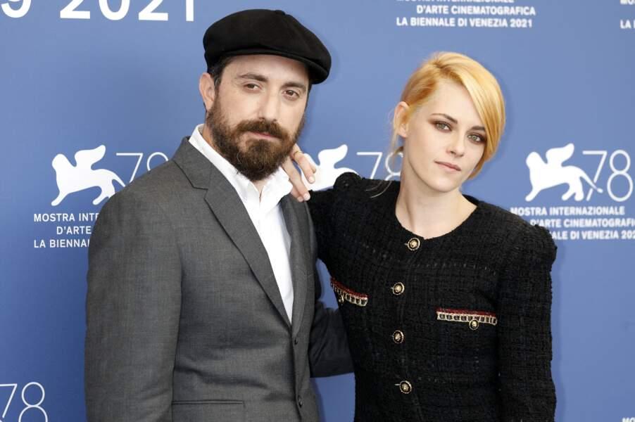Pablo Larrain et Kristen Stewart à Venise, Italie, le 3 sptembre 2021.