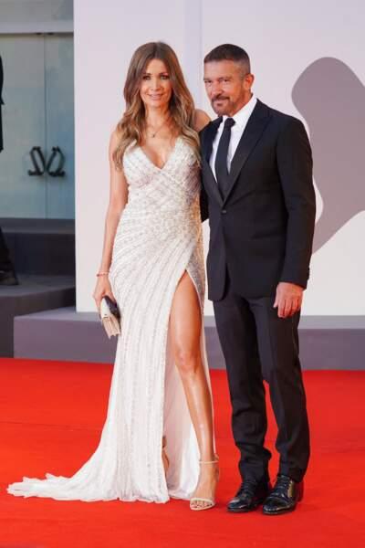 Nicole Kimpel et Antonio Banderas pendant le photocall de la 78e édition de la Mostra de Venise, le 4 septembre