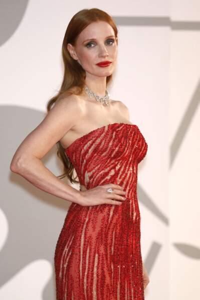 Jessica Chastain tout en beauté pour sa venue à la Mostra, ce 4 septembre