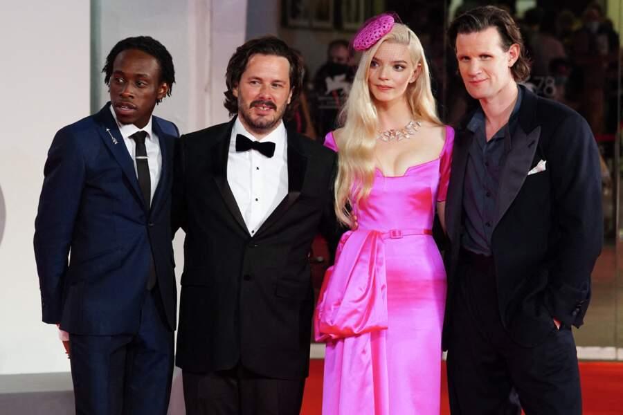 Michael Ajao, Edgar Wright,  Anya Taylor-Joy et Matt Smith à la Mostra de Venise, le 4 septembre