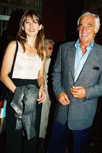 Jean-Paul Belmondo et Sophie Marceau à Paris en 2000.