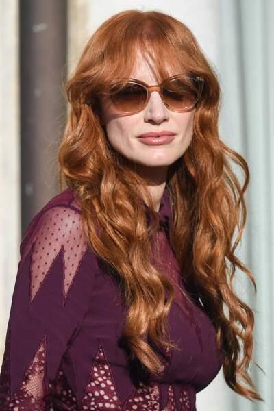 Jessica Chastain et ses longs cheveux roux et ondulés, à Venise, le 5 septembre 2021