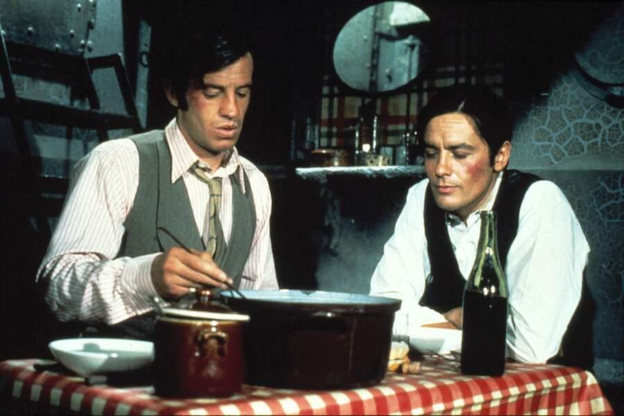 "Jean-Paul Belmondo et Alain Delon sur le tournage du film ""Borsalino"". 1970"