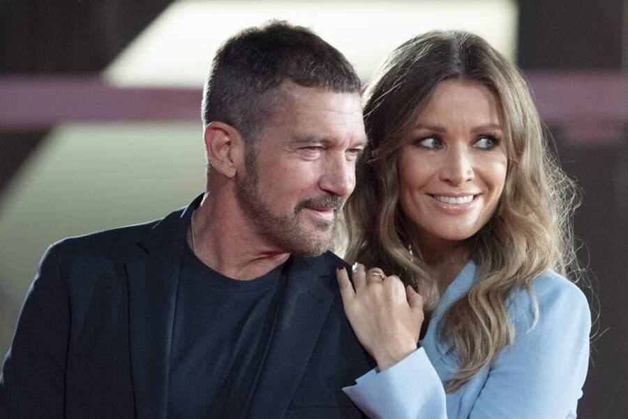 """Antonio Banderas et sa compagne Nicole Kimpel lors de la cérémonie """"Filming Italy Awards""""."""