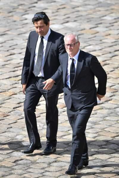 Laurent Gerra et Thierry Fremaux lors de l'hommage national à Jean-Paul Belmondo dans la cour des Invalides, à Paris, le jeudi 9 septembre 2021.