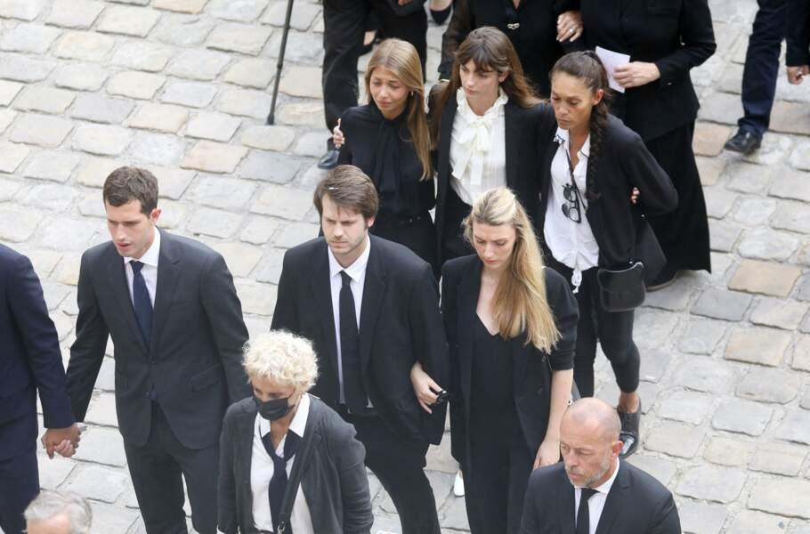 Muriel Belmondo, Victor, Alessandro, Stella, Annabelle lors de la cérémonie d'hommage national à Jean-Paul Belmondo à l'Hôtel des Invalides à Paris, France, le 9 septembre 2021.