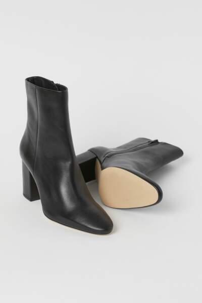 Bottines en cuir 100% cuir, H&M, 69,99€