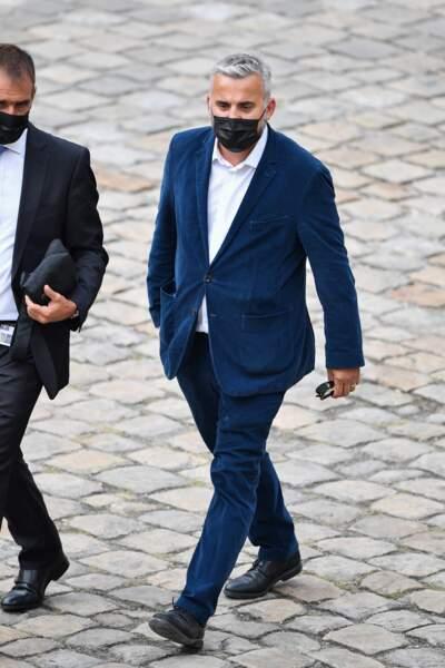 Alexis Corbiere durant l'hommage national à Jean-Paul Belmondo dans la cour des Invalides, à Paris, le jeudi 9 septembre 2021.