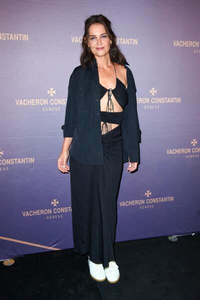 Katie Holmes porte une tenue du créateur pointu australien Christopher Esber, à New York le 8 septembre 2021.
