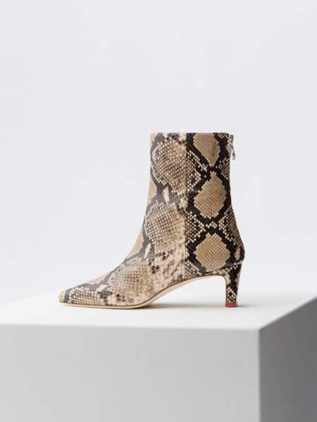 Bottines en cuir imprimé python, Aeyde, 325€