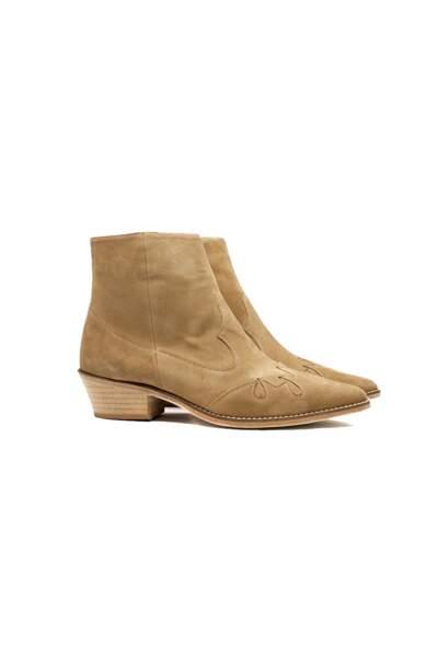 Boots zippées en cuir suédé, Valentine Gauthier, 360€