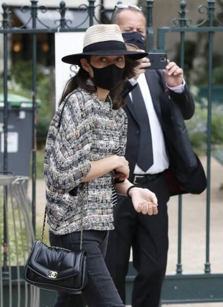 Marion Cotillard à son arrivée aux obsèques de Jean-Paul Belmondo, à l'église Saint-Germain-des-Prés, à Paris, le 10 septembre 2021