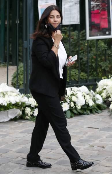 Cristiana Reali à son arrivée aux obsèques de Jean-Paul Belmondo, à l'église Saint-Germain-des-Prés, à Paris, le 10 septembre 2021
