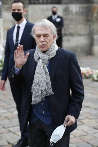 Salvatore Adamo à son arrivée aux obsèques de Jean-Paul Belmondo, à l'église Saint-Germain-des-Prés, à Paris, le 10 septembre 2021