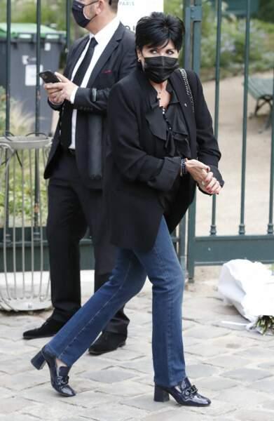 Liane Foly à son arrivée aux obsèques de Jean-Paul Belmondo, à l'église Saint-Germain-des-Prés, à Paris, le 10 septembre 2021