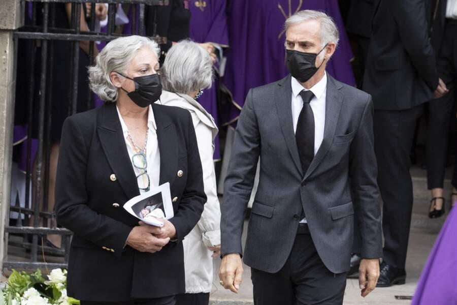 Florence Belmondo et Paul Belmondo aux obsèques de Jean-Paul Belmondo, à l'église Saint-Germain-des-Prés, à Paris, le 10 septembre 2021