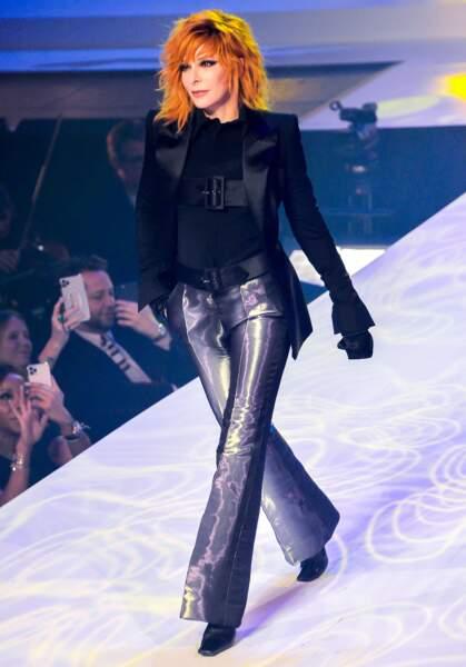 Mylène Farmer lors du dernier défilé de mode Haute-Couture de la maison Jean-Paul Gaultier,  le 22 janvier 2020 au théâtre du Châtelet à Paris