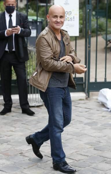 Rachid Ferrache à son arrivée aux obsèques de Jean-Paul Belmondo, à l'église Saint-Germain-des-Prés, à Paris, le 10 septembre 2021