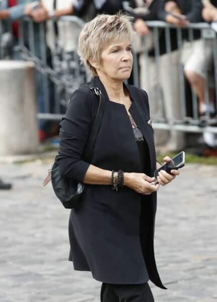 Véronique Jannot à son arrivée aux obsèques de Jean-Paul Belmondo, à l'église Saint-Germain-des-Prés, à Paris, le 10 septembre 2021
