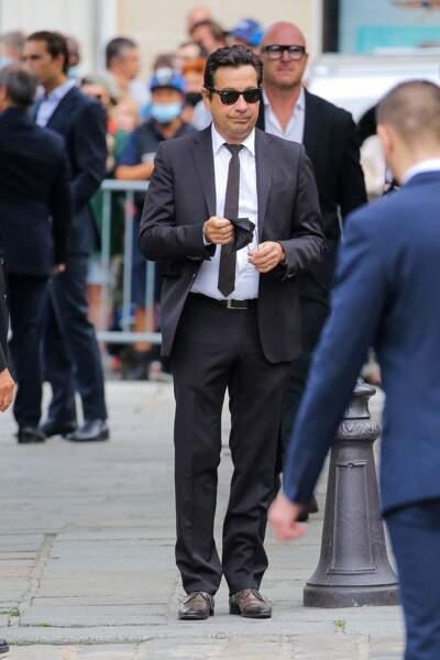 Laurent Gerra à son arrivée aux obsèques de Jean-Paul Belmondo, à l'église Saint-Germain-des-Prés, à Paris, le 10 septembre 2021