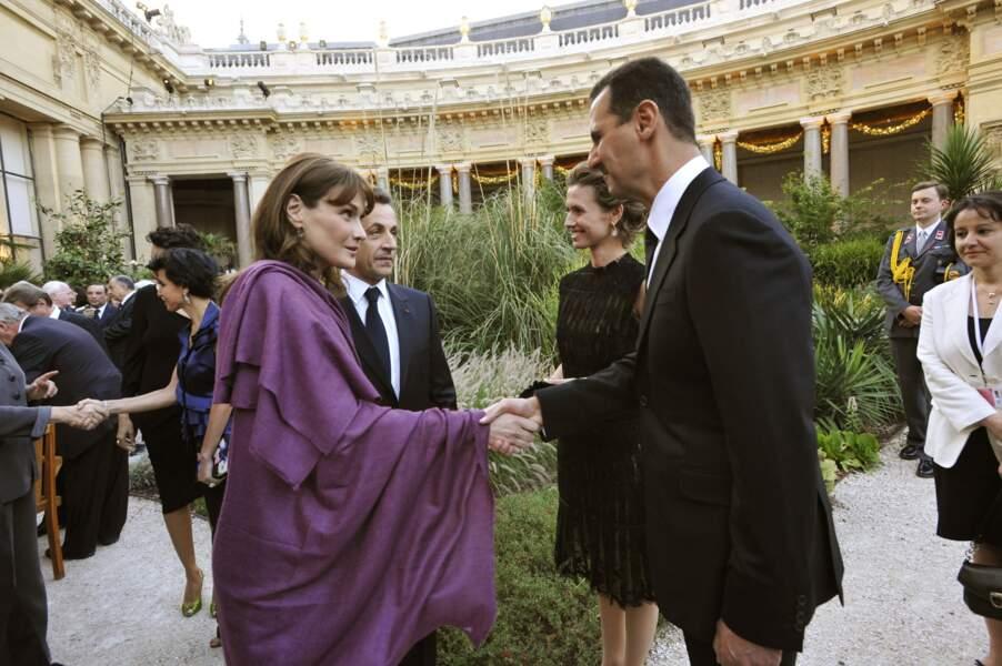 Nicolas Sarkozy et son épouse Carla ont reçu Bashar Al Assad
