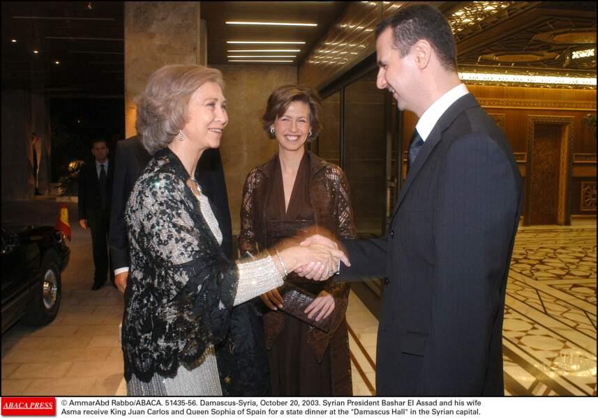 Le président syrien Bashar Al Assad avec la reine Sofia d'Espagne