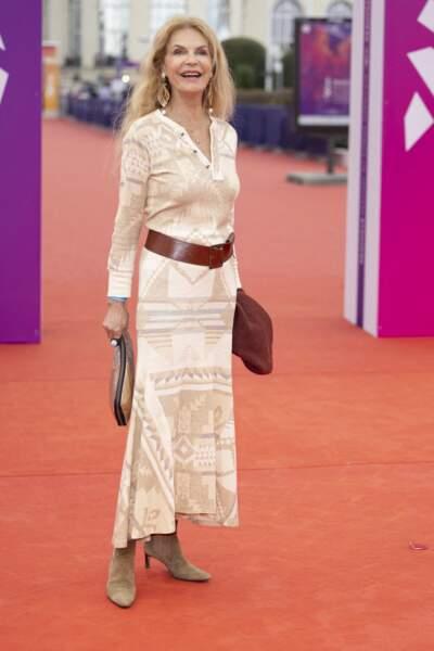 """Cyrielle Clair dans une robe bohème pour la première du film """"Dune"""" lors de la 47éme édition du Festival du Cinéma Américain de Deauville le 10 septembre 2021."""